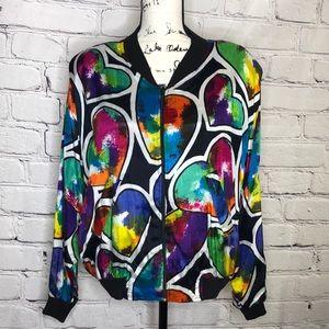 Vintage Ride Zip-Up Rainbow Heart Jacket - medium